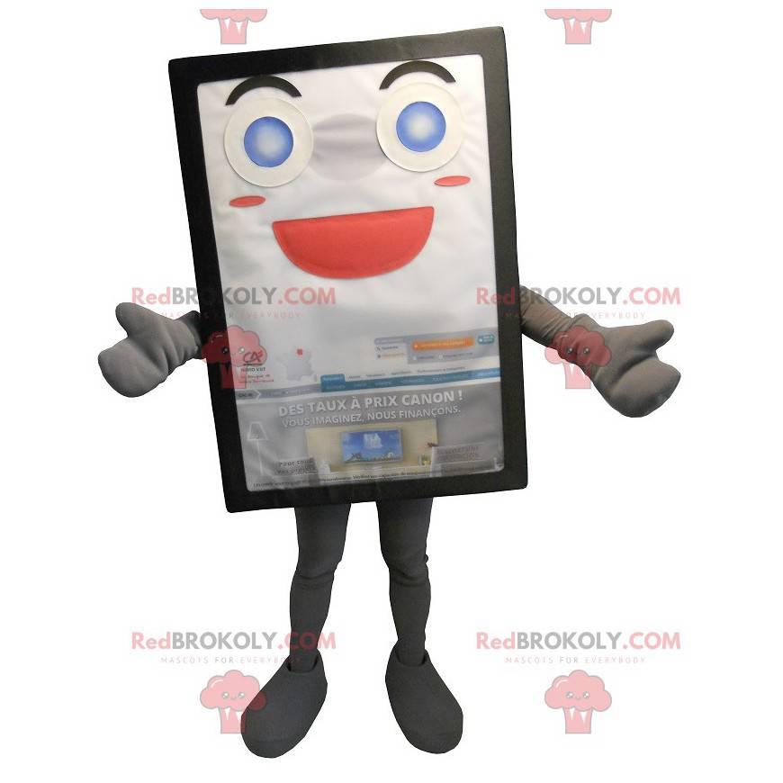 Gray and smiling advertising billboard mascot - Redbrokoly.com