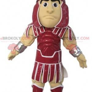 Romersk kriger maskot i rustning. Kriger kostume. -