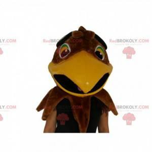 Mascota de cabeza de águila marrón. Disfraz de cabeza de águila