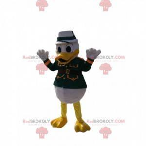 Donald maskot i grøn militær kjole. Donald kostume -