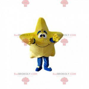 Usmívající se maskot žluté hvězdy. Hvězdný kostým -