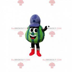 Watermeloen mascotte met een blauwe dop - Redbrokoly.com