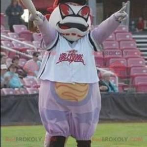 Obří černé a červené bílé baseball maskot - Redbrokoly.com