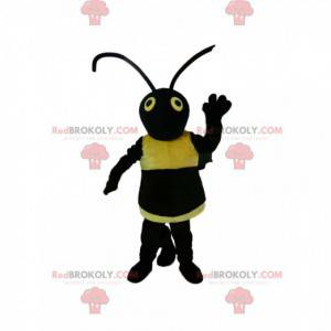 Mascota de avispa negra y amarilla. Disfraz de avispa -