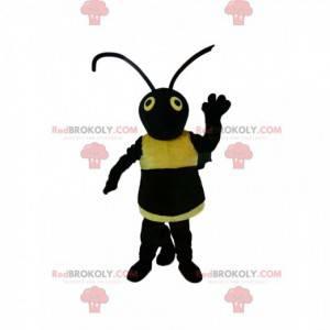 Sort og gul hvepsemaskot. Hveps kostume - Redbrokoly.com