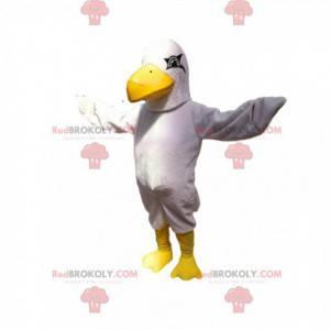 Weißes Adler-Maskottchen mit einem großen gelben Schnabel. -