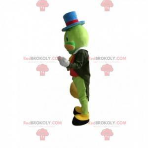 Mascote de gafanhoto verde com um lindo chapéu azul. -