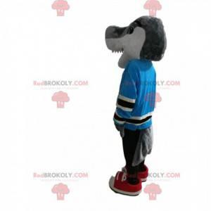 Squalo grigio mascotte con una maglia blu. Costume da squalo -