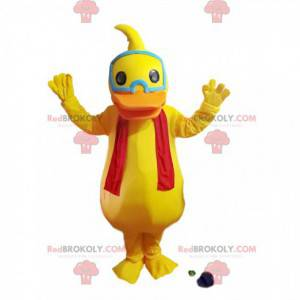 Mascote do pato amarelo com um lenço vermelho - Redbrokoly.com