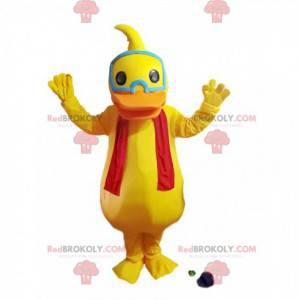 Mascotte anatra gialla con una sciarpa rossa - Redbrokoly.com