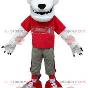 Polar bear mascot with a red jersey. Bear costume -