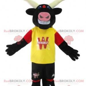 Mascota del toro con una camiseta amarilla. Disfraz de toro -