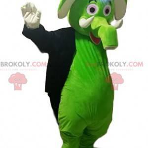 Maskottchen grüner Elefant mit einem schwarzen Jackenschwanz. -