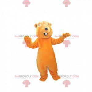 Mascote castor laranja muito sorridente. Fantasia de castor -