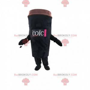 Czarna maskotka filiżanka kawy na wynos. Kostium filiżanka kawy