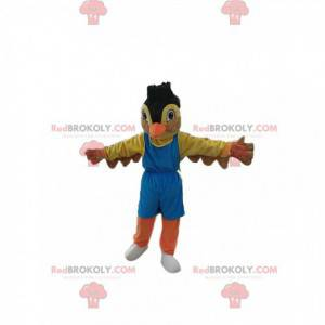 Mascot colorful sparrow in sportswear. Sparrow costume -
