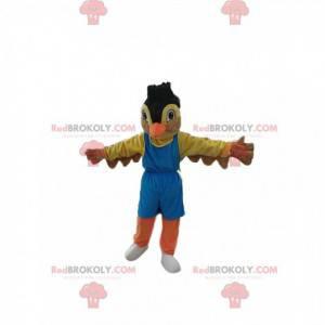 Mascotte passero colorato in abbigliamento sportivo. Costume da