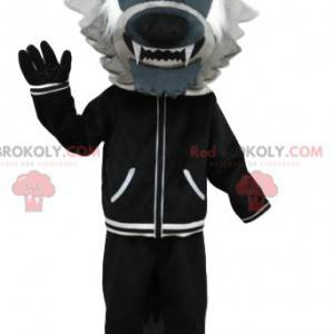 Gray wolf mascot with a black jacket. Wolf costume -