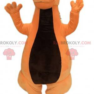 Mascote de dinossauro laranja amigável. Fantasia de dinossauro