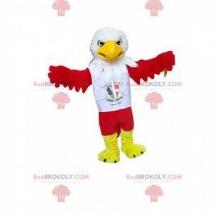 Mascot red eagle with a supporter jersey. Eagle costume -