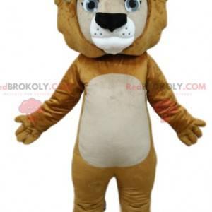 Maskot Lion s krásnýma modrýma očima. Lev kostým -