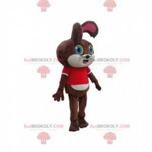 Brun kaninmaskot med rød t-skjorte - Redbrokoly.com
