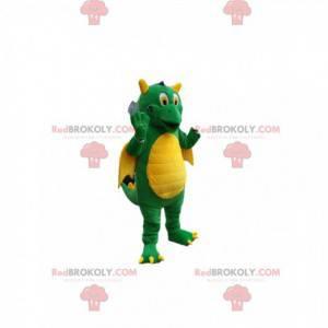 Mascota del dragón verde súper cómico. Traje de dragón -