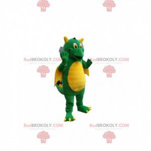 Mascotte drago verde super comico. Costume da drago -