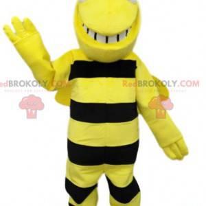 Mascota de abeja negra y amarilla muy sonriente. Disfraz de