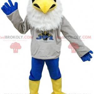 Weißes Adler-Maskottchen mit einem Unterstützertrikot -