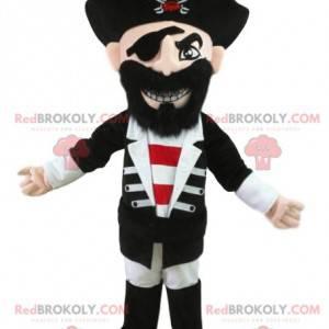 Mascota pirata en traje tradicional. Disfraz de pirata -