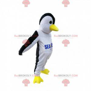 Sort og hvid pingvin maskot med en gul næb - Redbrokoly.com