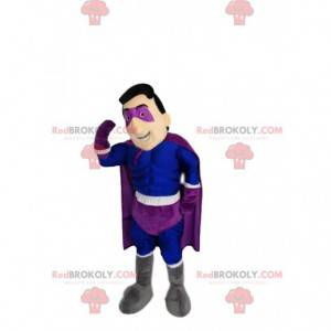Mascote do super-herói em azul e roxo. Fantasia de super-herói
