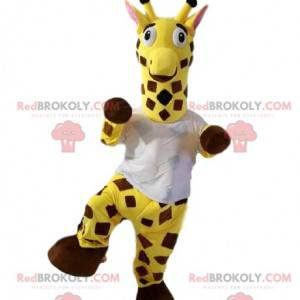 Giraffenmaskottchen mit einem weißen T-Shirt. Giraffenkostüm -