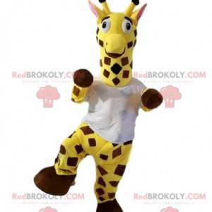 Mascote girafa com uma camiseta branca. Fantasia de girafa -