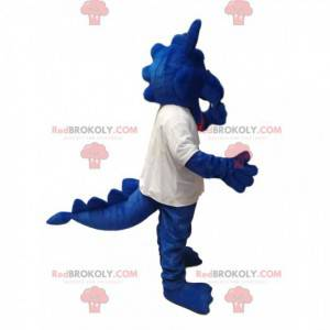 Mascota dragón azul en jersey blanco. Traje de dragón -