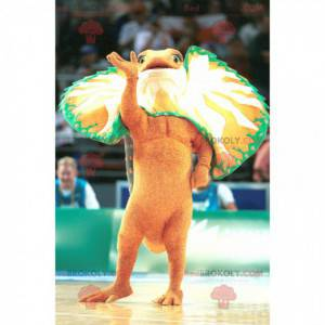 Oransje grønn og hvit dinosaur maskot - Redbrokoly.com