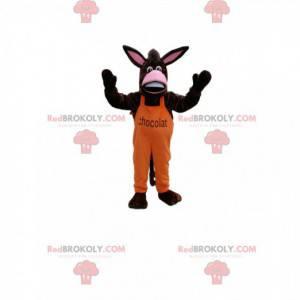 Donkey mascot in orange overalls. Donkey costume -