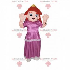 Prinsesse maskot med en lyserød kjole. Prinsesse kostume. -