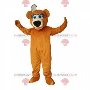 Super šťastný medvěd hnědý maskot. Medvěd hnědý kostým -