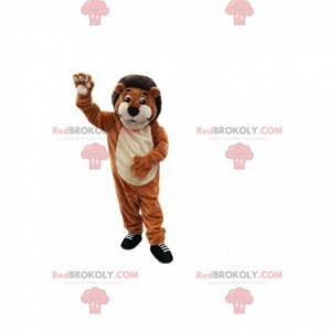 Velmi usměvavý hnědý lev maskot. Lev kostým - Redbrokoly.com