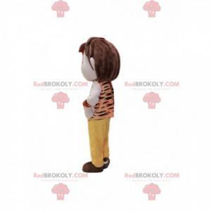 Chlapec maskot s prehistorickým stylem oblečení. -