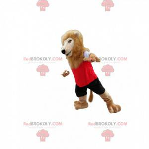 Maskot Lion v červené a černé sportovní oblečení. -
