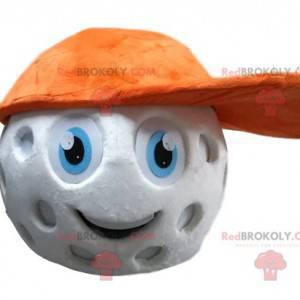 Golfball Maskottchenkopf mit orangefarbener Kappe. -