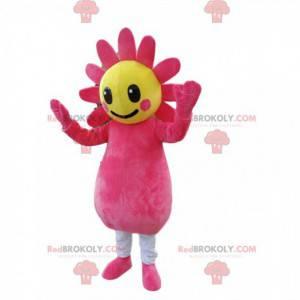 Mascote fúcsia e flor amarela. Traje de flores - Redbrokoly.com