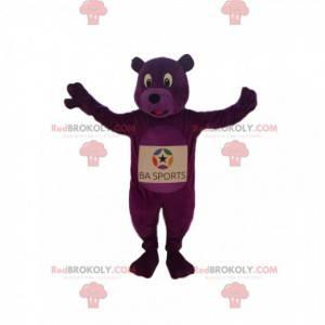 Enthusiastic purple bear mascot. Purple bear costume -