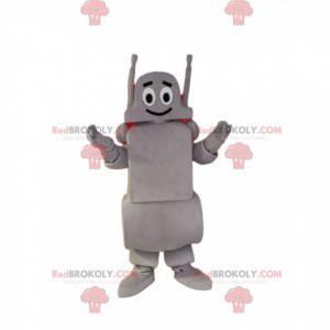 Mascotte robot grigio sorridente. Costume da robot -