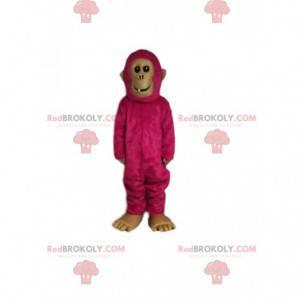Mascota del mono fucsia. Disfraz de mono fucsia - Redbrokoly.com