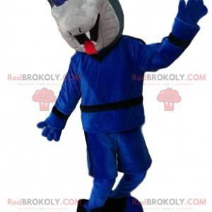 Mascote cobra cinza com um conjunto azul. - Redbrokoly.com