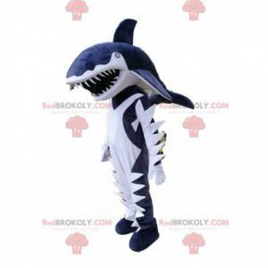 Atemberaubendes Maskottchen mit blauen und weißen Haien -